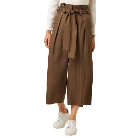 Great Plains Dark Olive Beau Belt Wide Leg Trouser