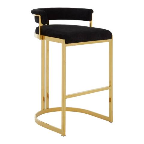 Fifty Five South Piermount Bar Stool, Black Velvet, Gold Finish Stainless Steel
