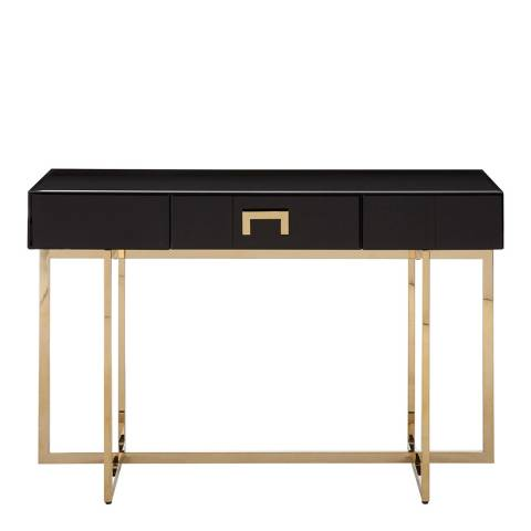 Fifty Five South Ragusa Console Table, Stainless Steel Legs, Black Mirror