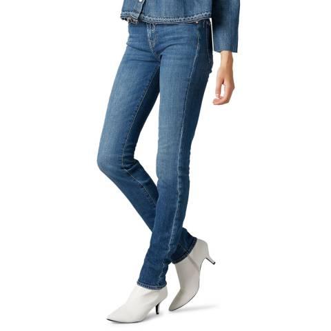 7 For All Mankind Dark Blue Roxanne Slim Stretch Jeans