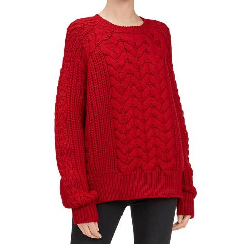 7 For All Mankind Red Chunky Cable Wool Jumper