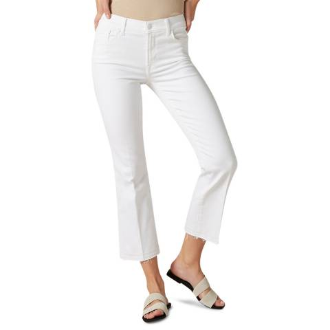 7 For All Mankind White Unrolled Bootcut Stretch Jeans