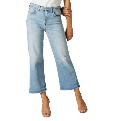 7 For All Mankind Blue Alexa Wide Crop Stretch Jeans