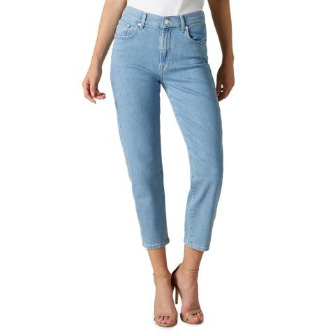 7 For All Mankind Blue Malia Tapered Stretch Jeans