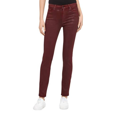 7 For All Mankind Deep Red Skinny High Waisted Stretch Jeans