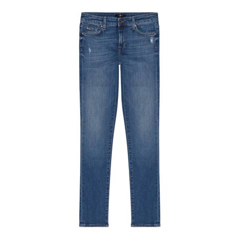 7 For All Mankind Blue Pyper Illusion Slim Stretch Jeans