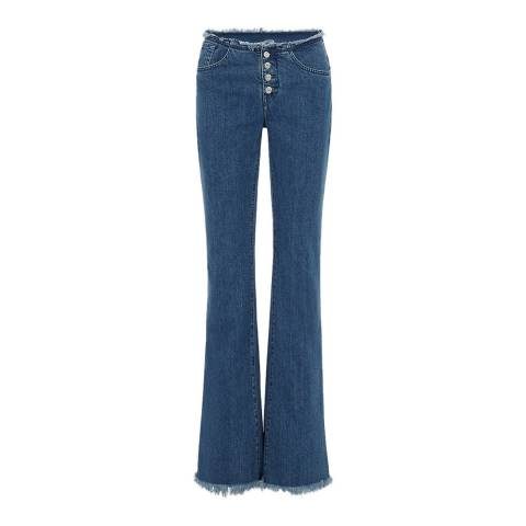 7 For All Mankind Mid Blue Bootcut Stretch Jeans
