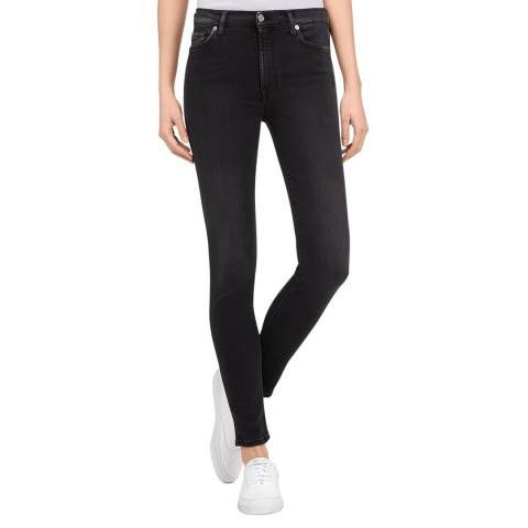 7 For All Mankind Black Skinny High Waisted Stretch Jeans