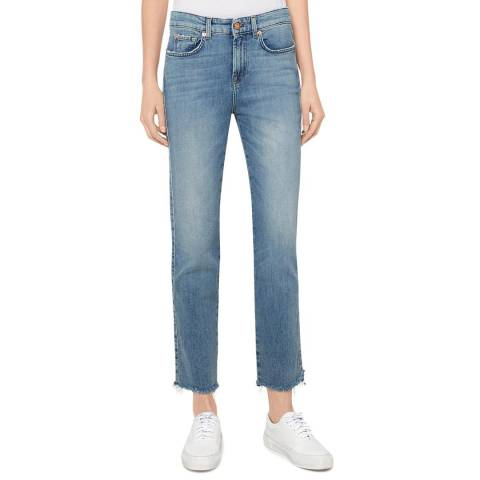 7 For All Mankind Blue Erin Straight Stretch Jeans