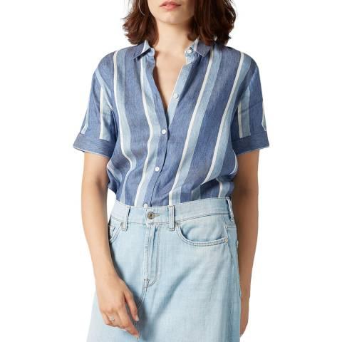 7 For All Mankind Blue/White Stripe Cotton Shirt