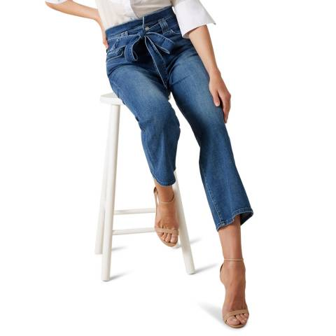7 For All Mankind Mid Blue Alexa Wide Crop Stretch Jeans