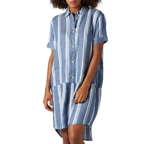7 For All Mankind Blue/White Cotton Overshirt Dress