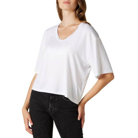 7 For All Mankind White Embellished Scoop Neck Top