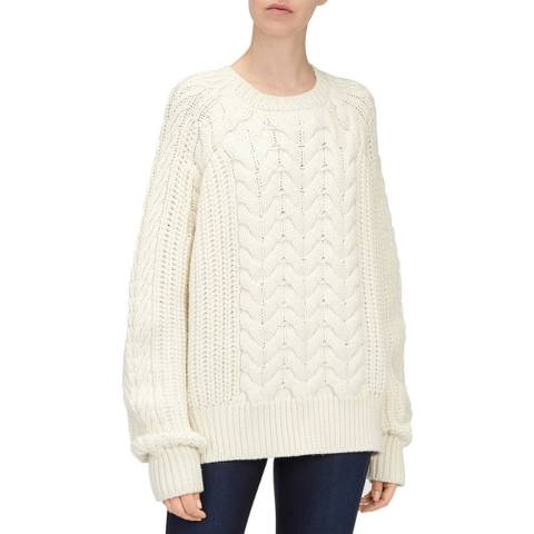 7 For All Mankind Off White Chunky Cable Wool Jumper