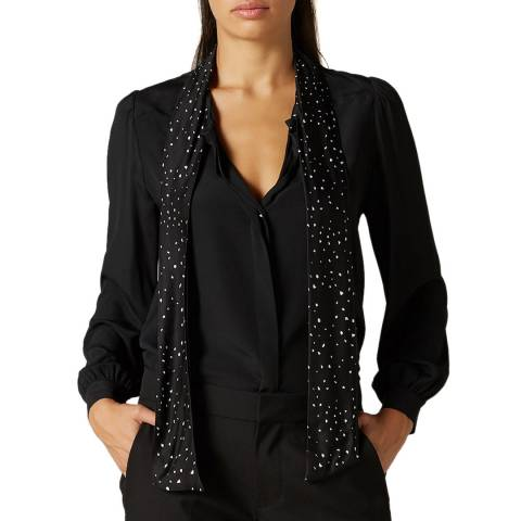 7 For All Mankind Black Bow Silk Blend Shirt
