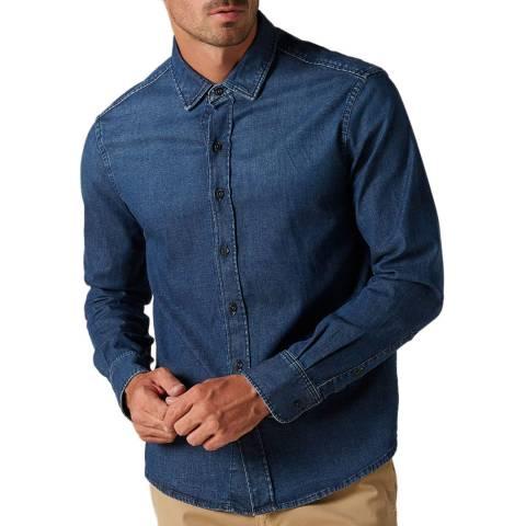 7 For All Mankind Blue Plain Denim Stretch Shirt