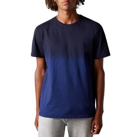 7 For All Mankind Dark Blue Slub Fade Cotton T-Shirt