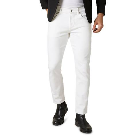 7 For All Mankind White Slimmy Tapered Stretch Jeans