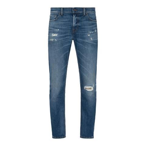 7 For All Mankind Dark Blue Ronnie Distressed Slim Stretch Jeans
