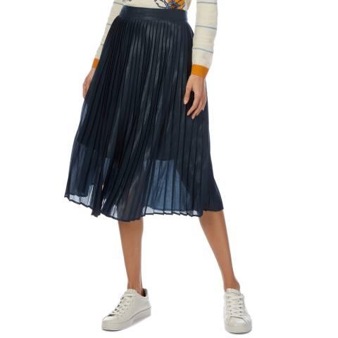 White Stuff Navy Edie Pleat Shimmer Skirt