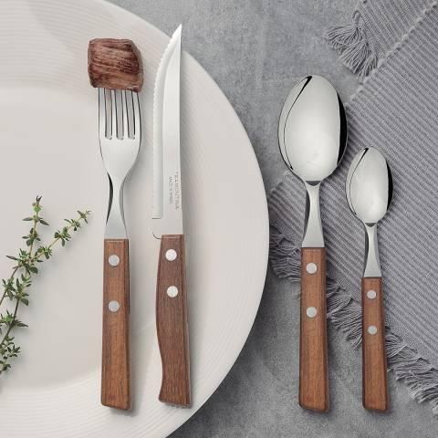 Tramontina 24 Piece Polished Wood Cutlery Set