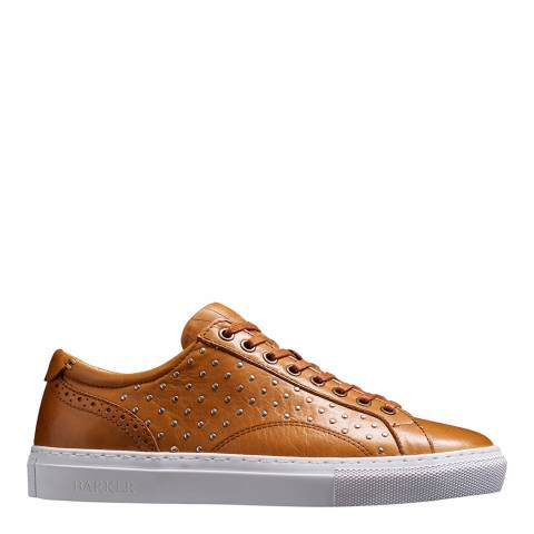 Barker Brown Leather Stud Isla Sneaker