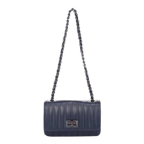 Markese Blue Leather Shoulder Bag