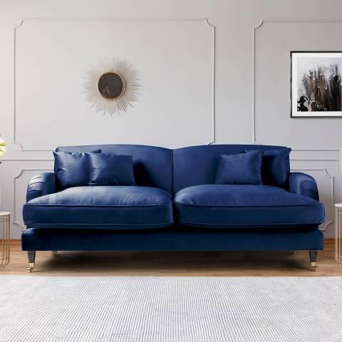 The Great Sofa Company The Piper 3 Seater Sofa, Velvet Navy