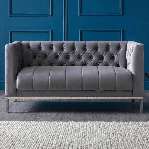 The Great Sofa Company Mayfair Two Seater Velvet Grey Stainless Steel Legs