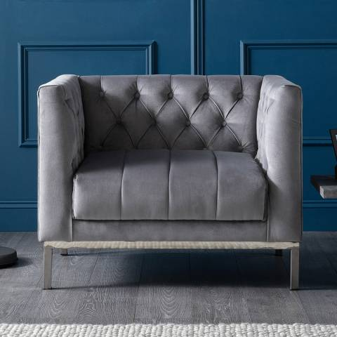 The Great Sofa Company Mayfair Loveseat Velvet Grey Stainless Steel Legs