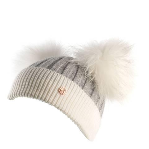 Look Like Cool Kids Grey/White Pom Pom Beanie Hat