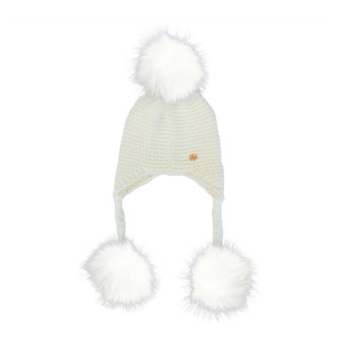 Look Like Cool White Hat with White Pom Poms