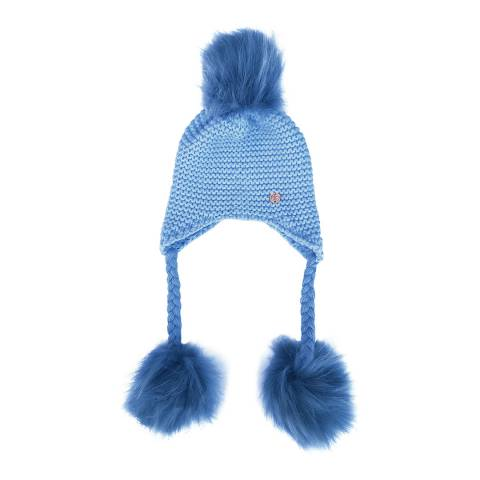Look Like Cool Baby Blue Hat with Blue Pom Poms