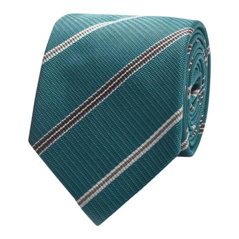 Thomas Pink Teal/Grey Textured Club Stripe Tie