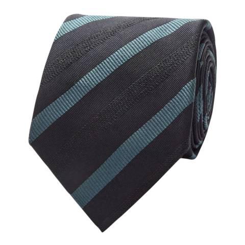 Thomas Pink Navy/Blue Wool Boucle Small Tonal Stripe Tie