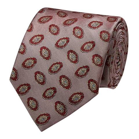 Thomas Pink Pink Oval Medallion Woven Tie