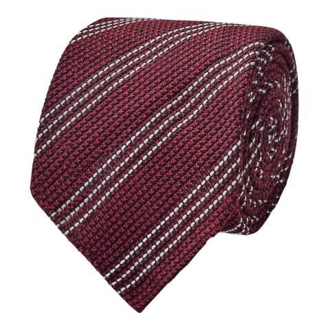Thomas Pink Burgundy Grenadine Three Stripe Woven Tie