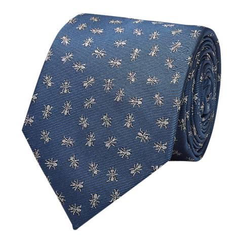Thomas Pink Pale Blue Ants Motif Woven Tie