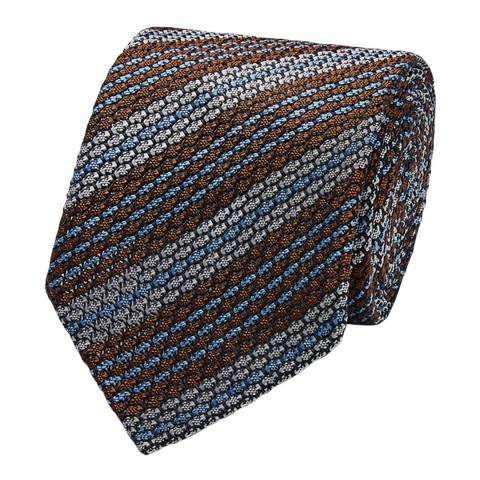 Thomas Pink Blue/Brown Grenadine Silk Tie