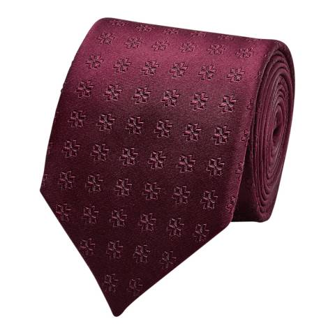Thomas Pink Burgundy Tonal Flower Silk Tie