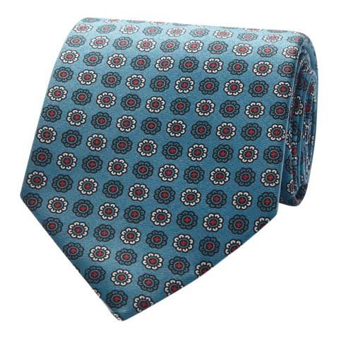 Thomas Pink Blue/White Floral Medallion Tie