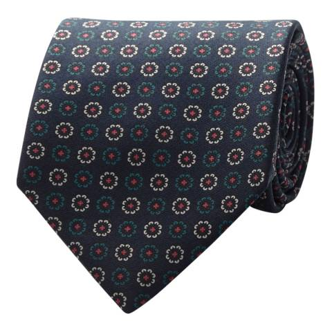 Thomas Pink Navy/Blue Floral Medallion Tie