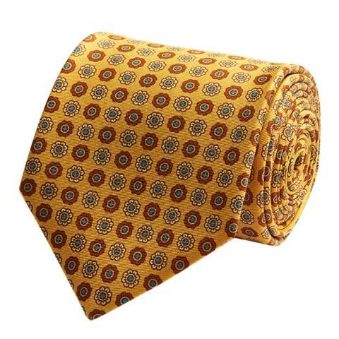 Thomas Pink Yellow Floral Medallion Tie
