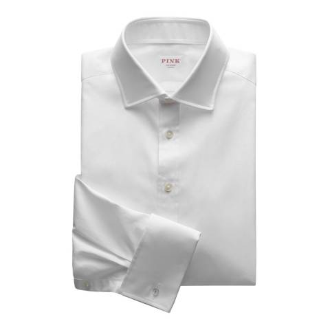 Thomas Pink White Royal Oxford Tailored Double Cuff Shirt