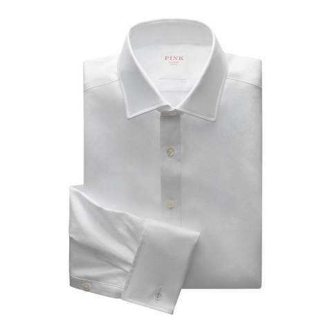 Thomas Pink White Royal Twill Classic Double Cuff Shirt