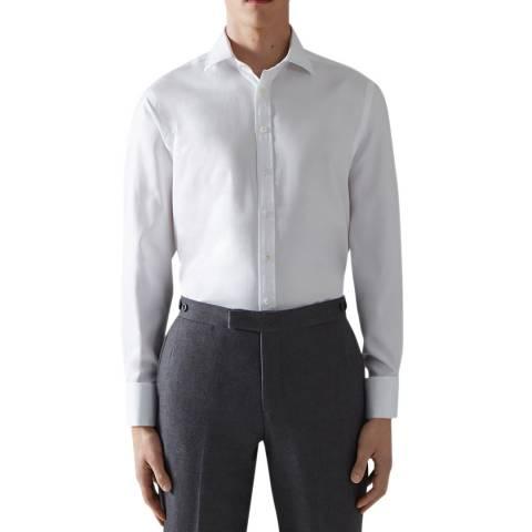 Thomas Pink White Royal Twill Tailored Double Cuff Shirt