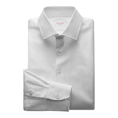 Thomas Pink White Core Poplin Slim Fit Button Cuff Shirt