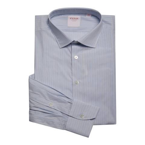 Thomas Pink Blue Stripe Piumino Slim Fit Shirt