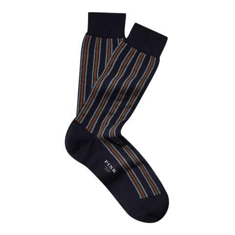 Thomas Pink Navy Vertical Stripe Socks