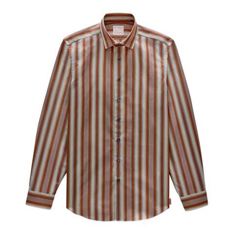 Thomas Pink Orange Stripe Archive Portland Slim Fit Shirt